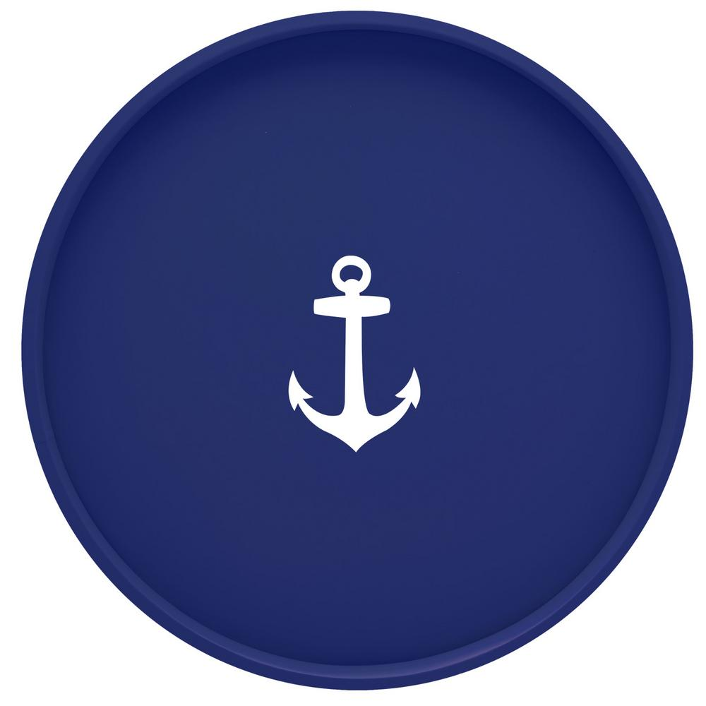 Kasualware Anchor 14 in. Round Serving Tray in Blue