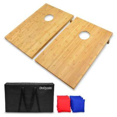 3 ft. x 2 ft. Bamboo Cornhole Set with 8 Bean Bags and Carrying Case