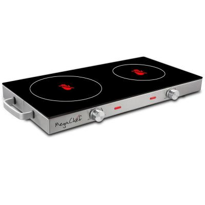 2-Burner 6 in. Stainless Steel Infrared Countertop Hot Plate