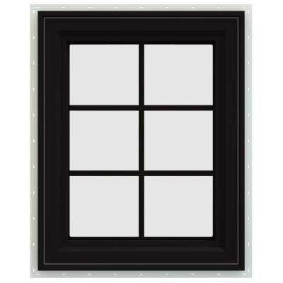 23.5 in. x 35.5 in. V-4500 Series Left-Hand Casement Vinyl Window with Grids - Black