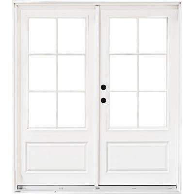 72 in. x 80 in. Fiberglass Smooth White Right-Hand Inswing Hinged 3/4 Lite Patio Door with 6 Lite SDL
