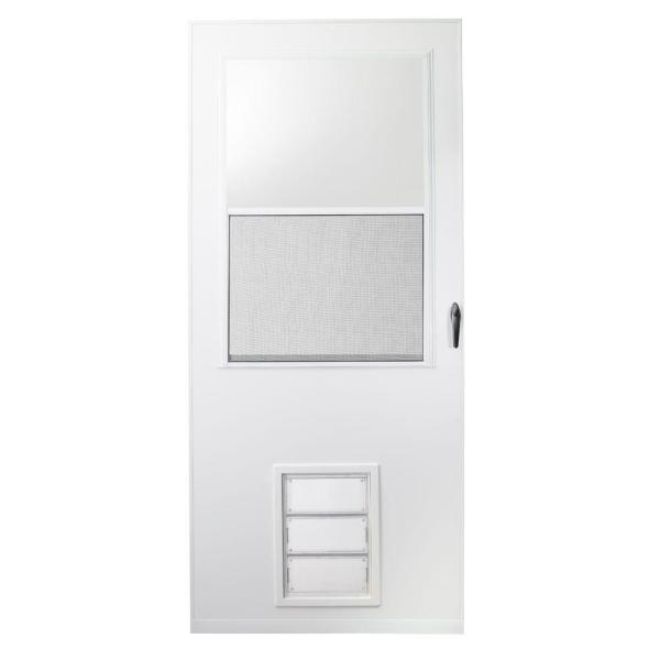 Emco 32 In X 80 In K900 Series White Vinyl Self Storing Pet Storm Door With Black Hardware K900 32wh The Home Depot There is a key for lock, this gate is in good condition (minor wear at the bottom of door, picture. usd