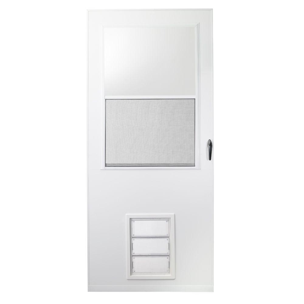 Emco 36 in x 80 in k900 series white vinyl self storing - 30 x 80 exterior door with pet door ...