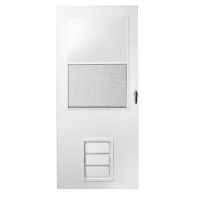 36 in. x 80 in. K900 Series White Vinyl Self-Storing Pet Storm Door with Black Hardware