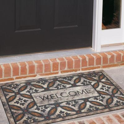Orange Circles Welcome 18 in. x 30 in. Door Mat