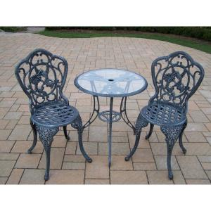 Hummingbird Verdi Grey 3-Piece Aluminum Outdoor Bistro Set by
