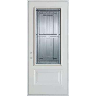 37.375 in. x 82.375 in. Right-Hand Architectural 3/4 Lite Decorative 1-Panel Painted White Steel Prehung Front Door