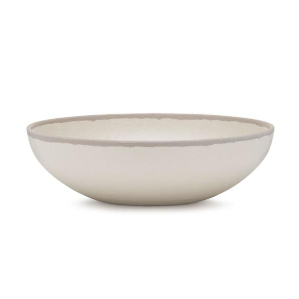 Q Squared Potter 12 in. Melamine Bamboo Round Serving Bowl in Stone Gray