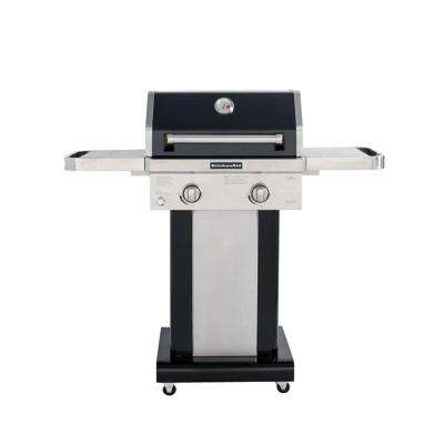 2-Burner Propane Gas Grill in Black with Grill Cover