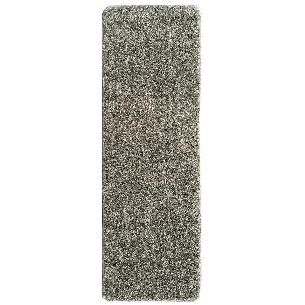 Ottomanson Luxury Gy Collection Solid Design Gray 2 Ft In X 6 Rug Runner Lux6003 2x6 The Home Depot