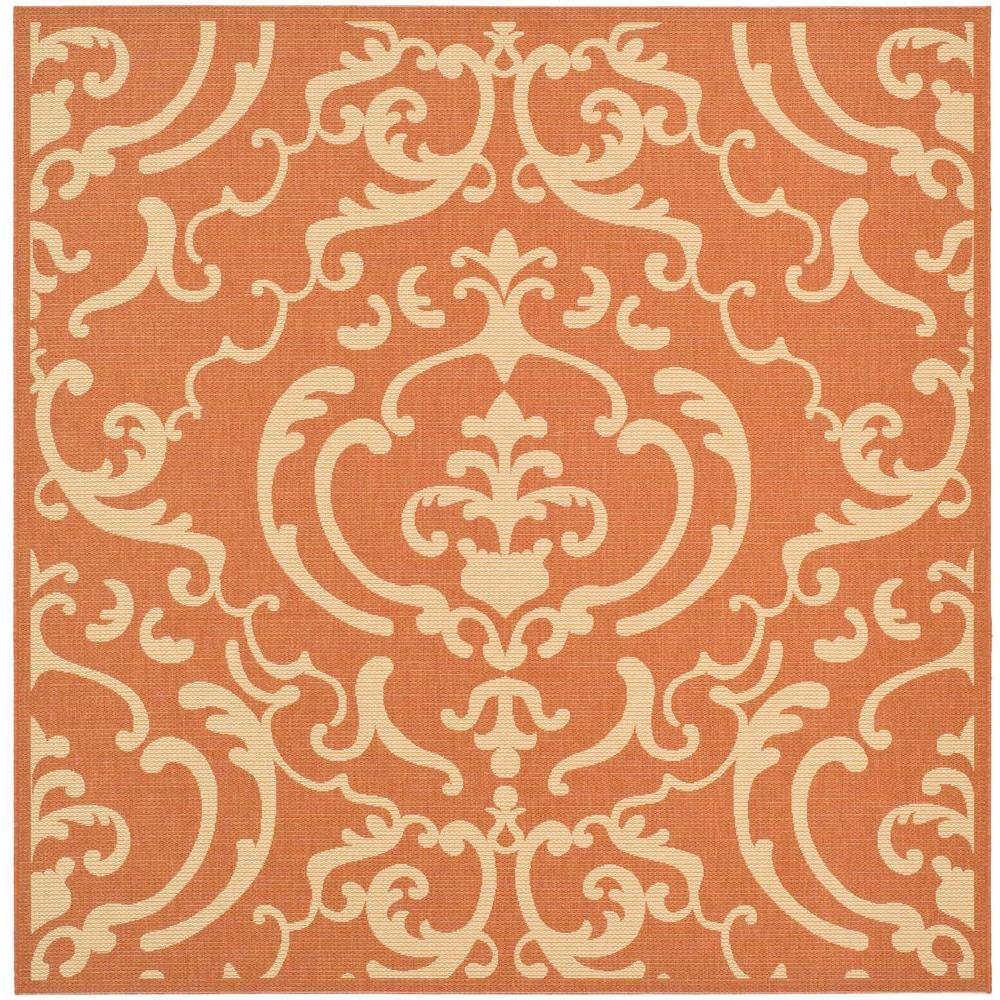 Safavieh Courtyard Terracotta/Natural 6 ft. 7 in. x 6 ft. 7 in. Indoor/Outdoor Square Area Rug