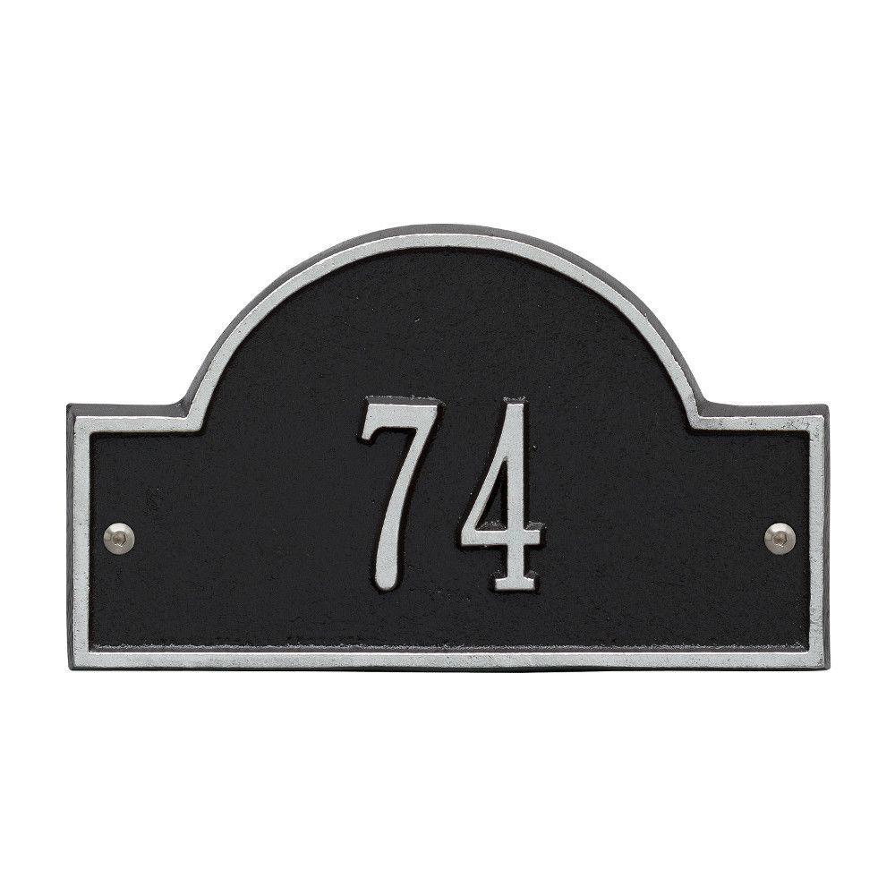 Arch Marker Petite Black/Silver Wall 1-Line Address Plaque