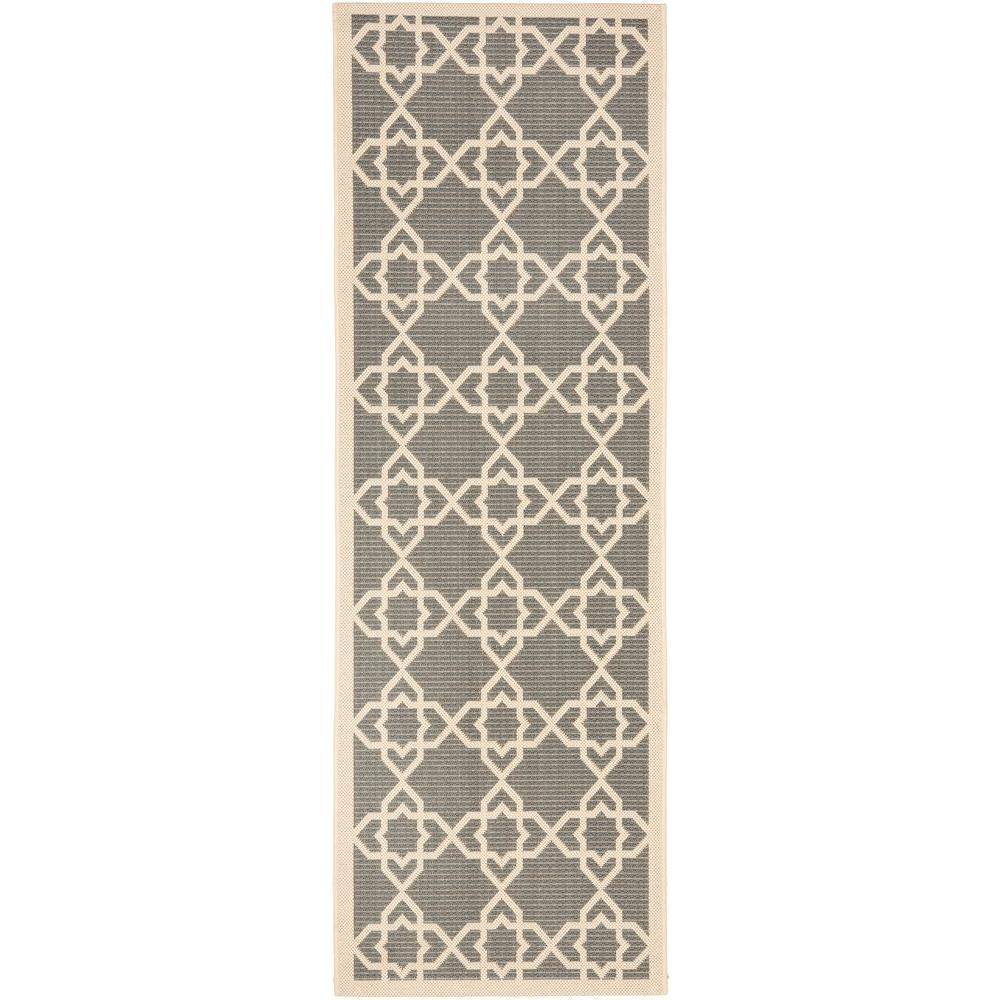 Courtyard Gray/Beige 2 ft. 3 in. x 10 ft. Indoor/Outdoor Runner
