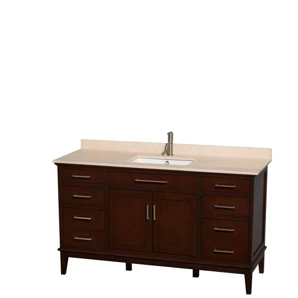 Wyndham Collection Hatton 60 in. Vanity in Dark Chestnut with Marble Vanity Top in Ivory and Square Sink