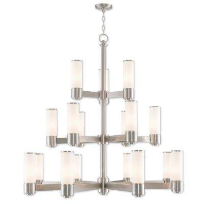 Weston 17-Light Brushed Nickel Foyer Chandelier with Hand Blown Satin Opal White Glass Shade
