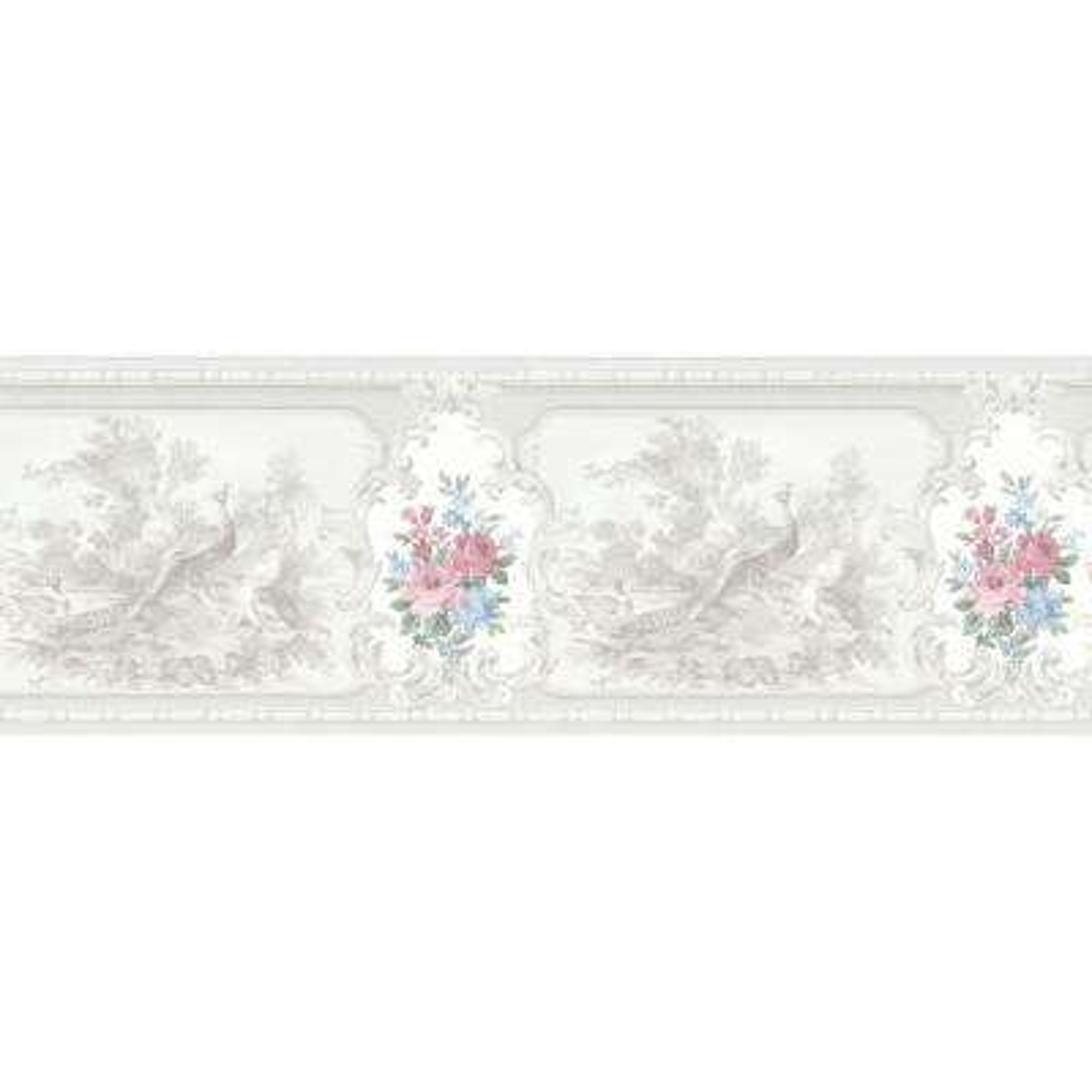 Kris Platinum Aviary Cameo Fleur Wallpaper Border