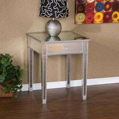 Pavel Matte Silver Mirrored End Table