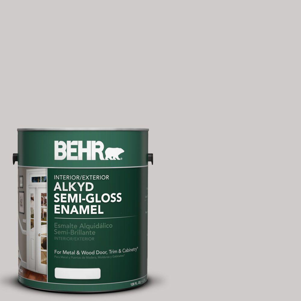 BEHR 1 gal. #AE-49 Polished Silver Semi-Gloss Enamel Alkyd Interior/Exterior Paint