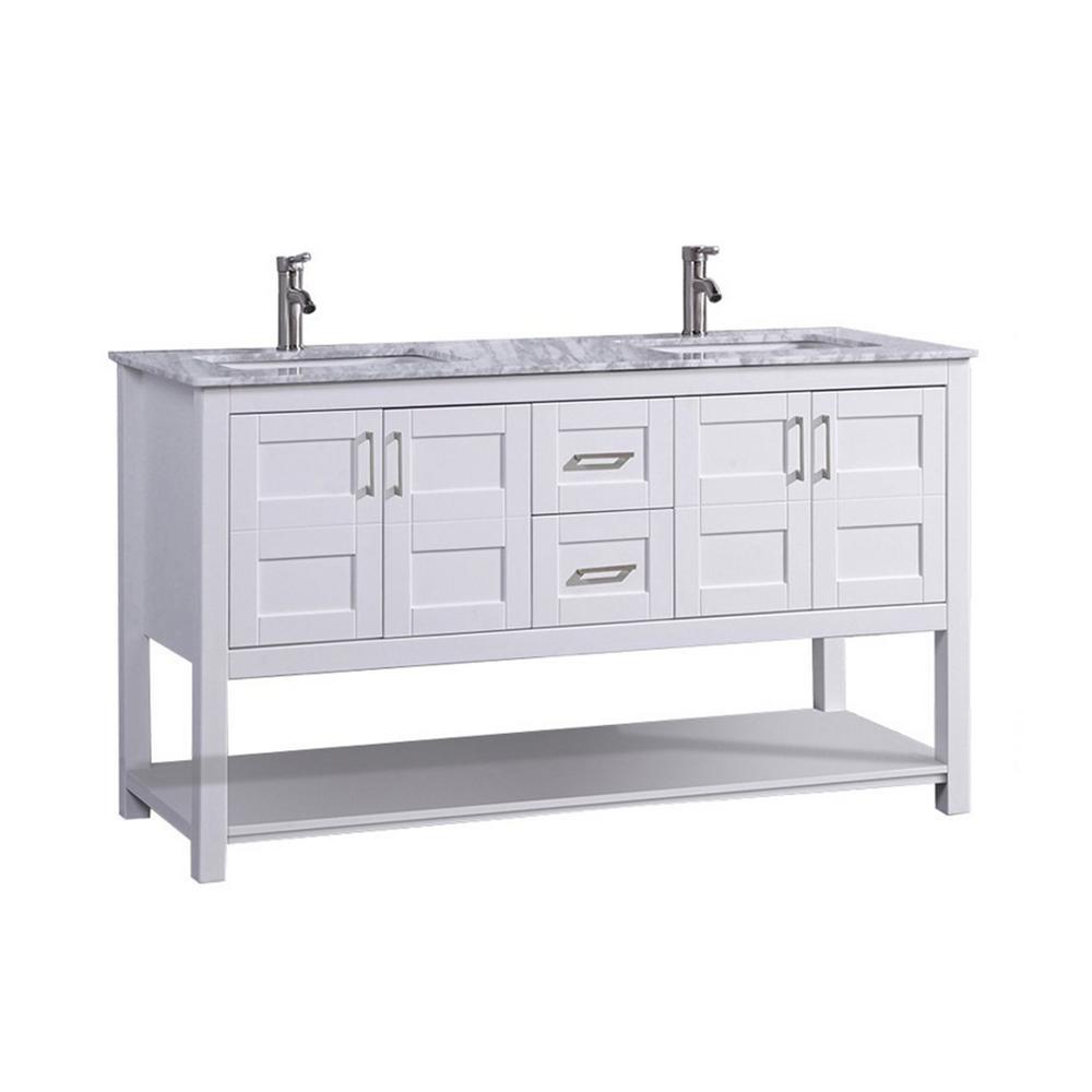Nord 60 in. W x 22 in. D x 36 in. H Double Vanity in White with Grey/White Carrara Marble Vanity Top with White Basin
