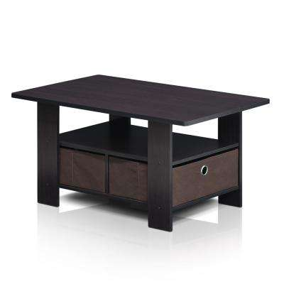 Home Living Dark Walnut Built-In Storage Coffee Table