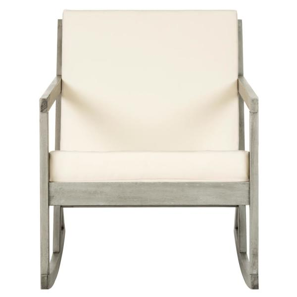 Vernon Grey Wood Outdoor Rocking Chair with Beige Cushions