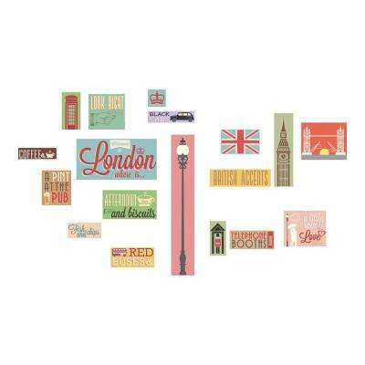 18.5 in. x 26.4 in. London Icons Wall Decal
