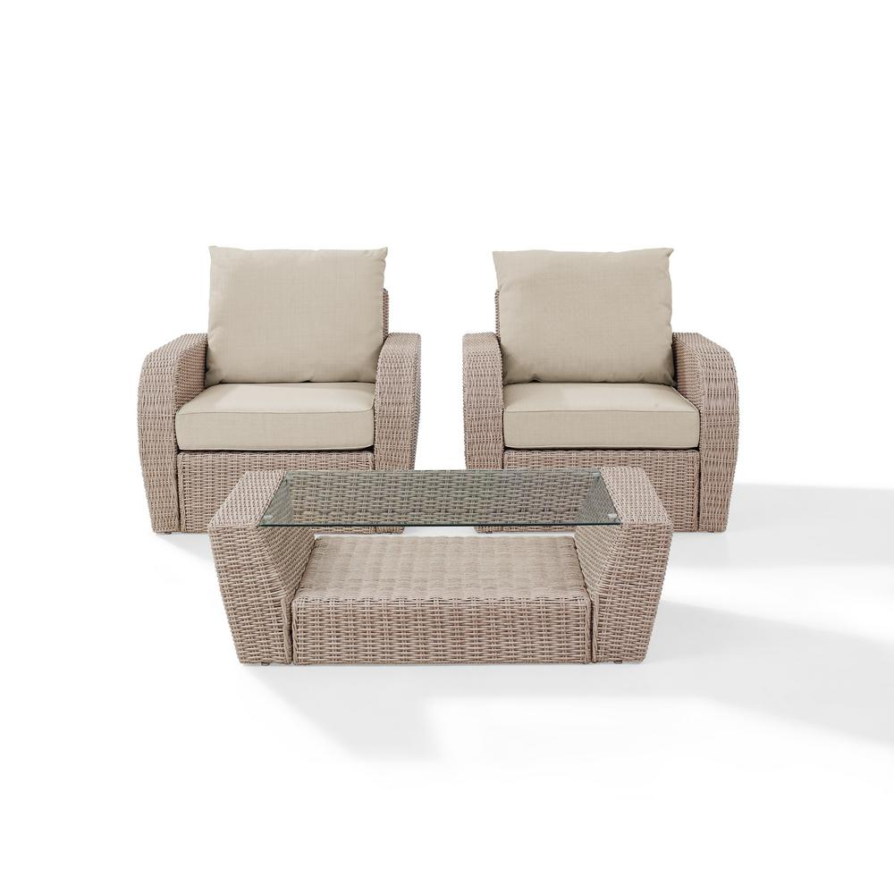 Miraculous Crosley St Augustine 3 Piece Wicker Patio Outdoor Seating Set With Oatmeal Cushion 2 Wicker Outdoor Chairs Coffee Table Andrewgaddart Wooden Chair Designs For Living Room Andrewgaddartcom