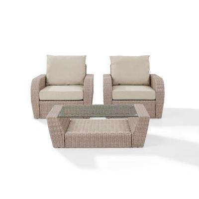St Augustine 3-Piece Wicker Patio Outdoor Seating Set with Oatmeal Cushion - 2 Wicker Outdoor Chairs, Coffee Table