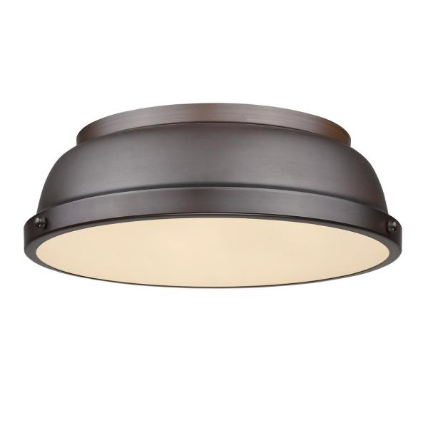 Duncan 2-Light Rubbed Bronze Flush Mount
