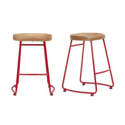 StyleWell Ruby Red Metal Backless Counter Stool with Wood Seat (Set of 2) (18.5 in. W x 24 in. H)