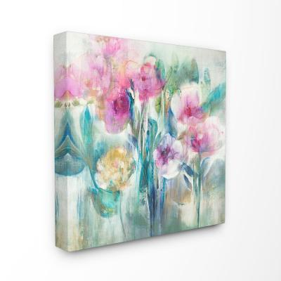 "17 in. x 17 in. ""Pink Purple and Sage Soft Painterly Florals"" by K. Nari Canvas Wall Art"