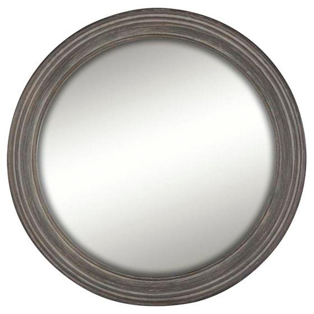 Home Decorators Collection Drevo 28 in. H x 28 in. W Round Framed Wall Mirror in Woodtone