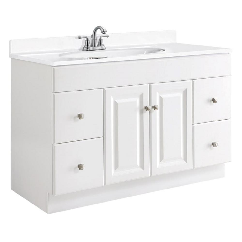 Design House Wyndham 48 in. W x 21 in. D Unassembled Vanity Cabinet Only in White Semi-Gloss