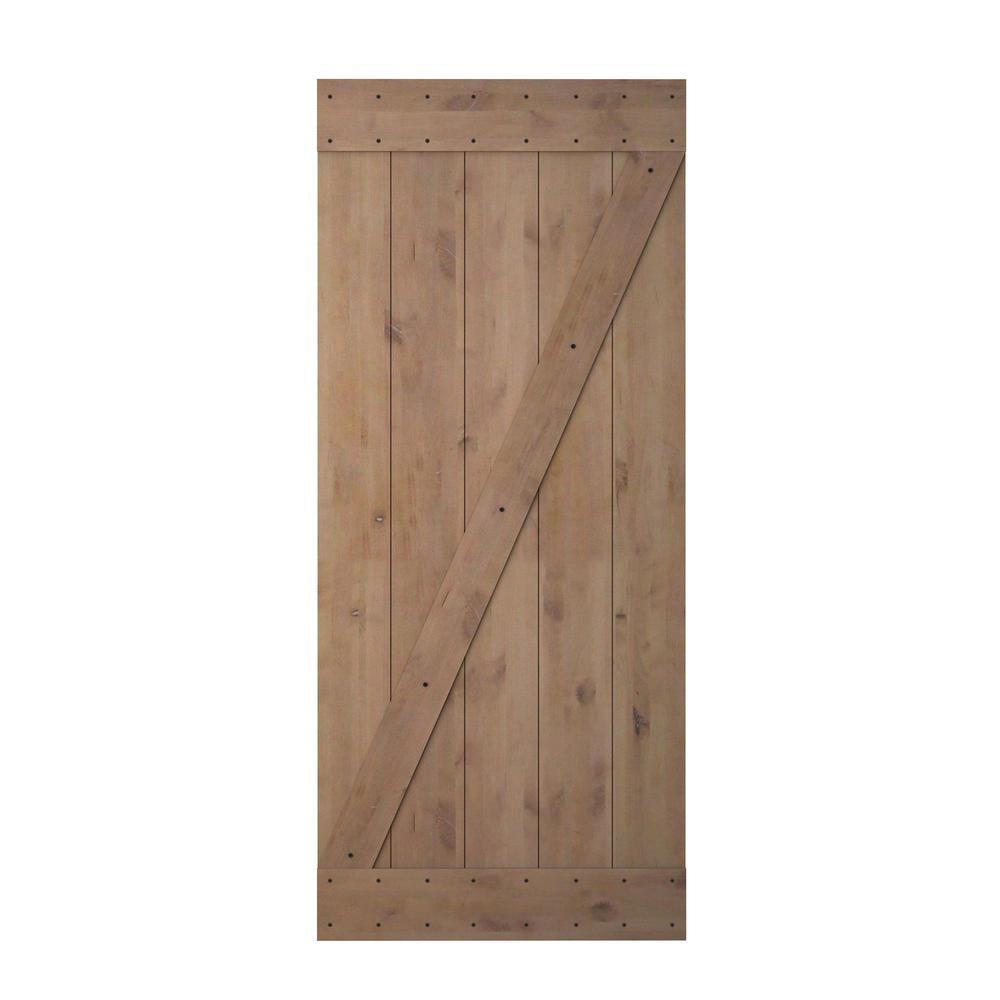 CALHOME 36 in. x 84 in. Z Bar 1 Panel Primed Natural Wood Finish Sliding Barn Door Knotty Alder Interior Barn Door Slab was $399.0 now $259.0 (35.0% off)