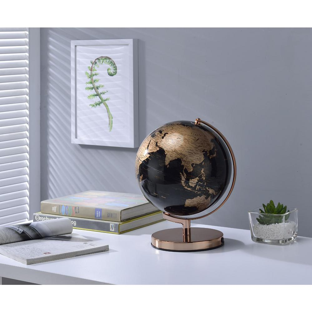 unbranded 12.5 in. Black and Gold Globe on Rose Gold Metal Frame