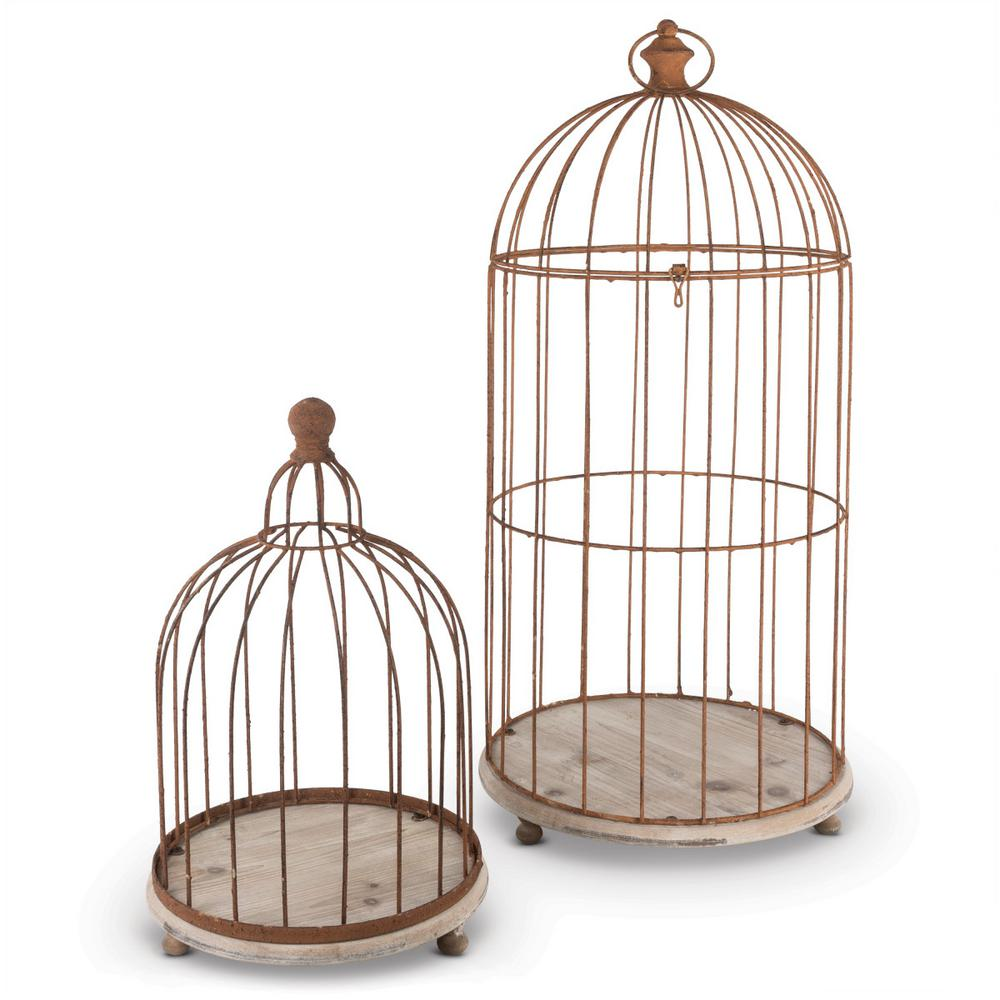 Gerson Metal Wire Bird Cage Candle Holders (Set Of 2