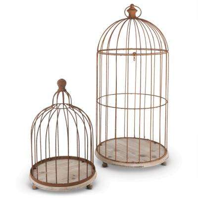 Metal Wire Bird Cage Candle Holders (Set of 2)