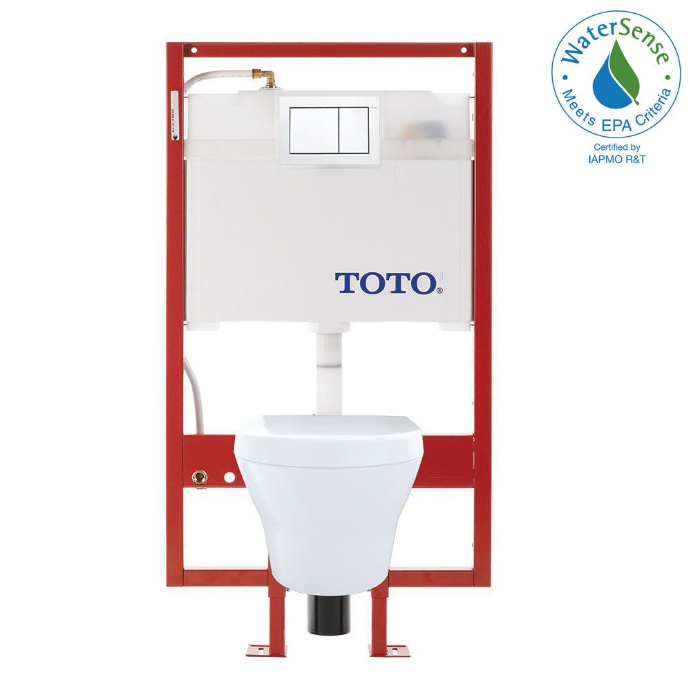 TOTO MH Wall-Hung 2-Piece 0.9/1.28 GPF Dual-Flush Elongated Toilet ...
