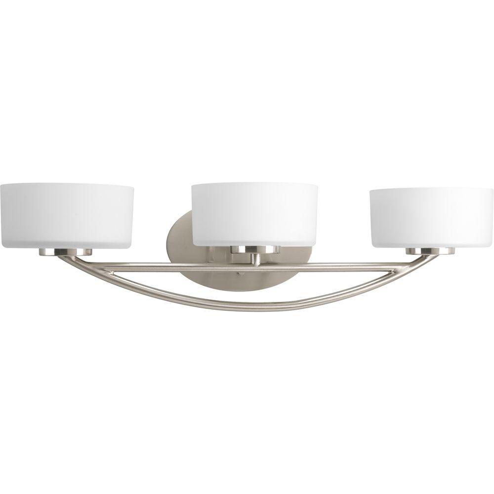 Progress Lighting Calven Collection 3-Light Brushed Nickel Vanity Fixture