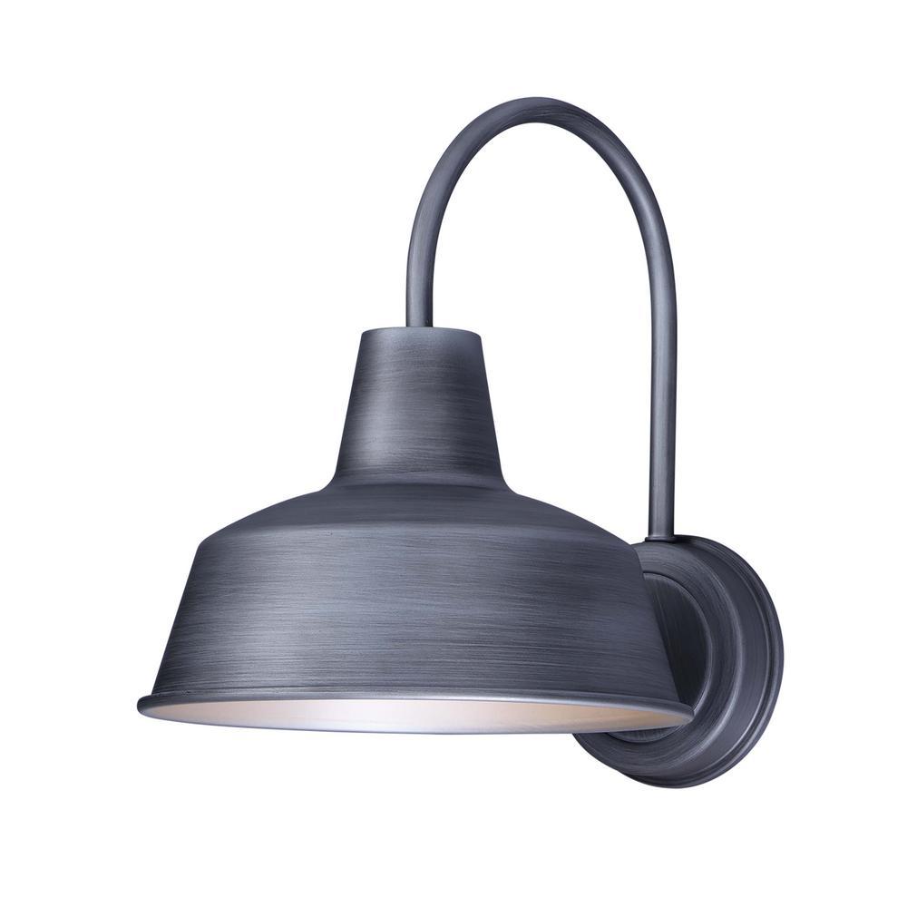 Pier M 10.25 in. W 1-Light Weathered Zinc Outdoor Wall Lantern Sconce