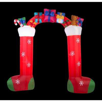 9.5 ft. Inflatable Christmas Airblown Archway-Mixed Media-Stocking