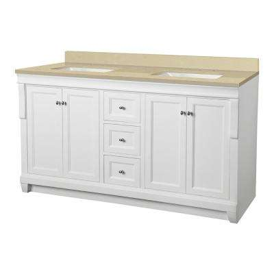Naples 61 in. W x 22 in. D Vanity in White with Engineered Marble Vanity Top in Crema Limestone with White Sink