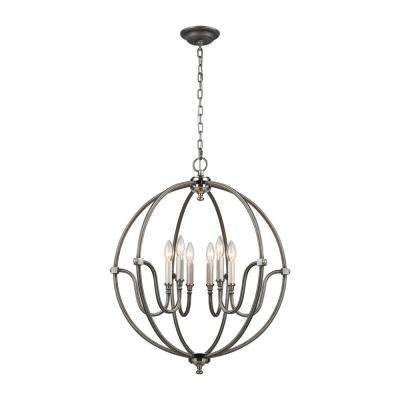 Stanton 6-Light Weathered Zinc Chandelier with Brushed Nickel Accents