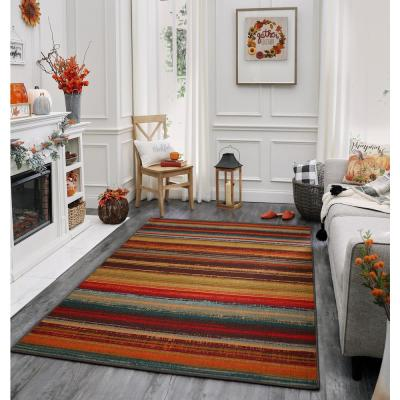 Avenue Stripe Multi 5 ft. x 8 ft. Indoor/Outdoor Printed Patio Area Rug