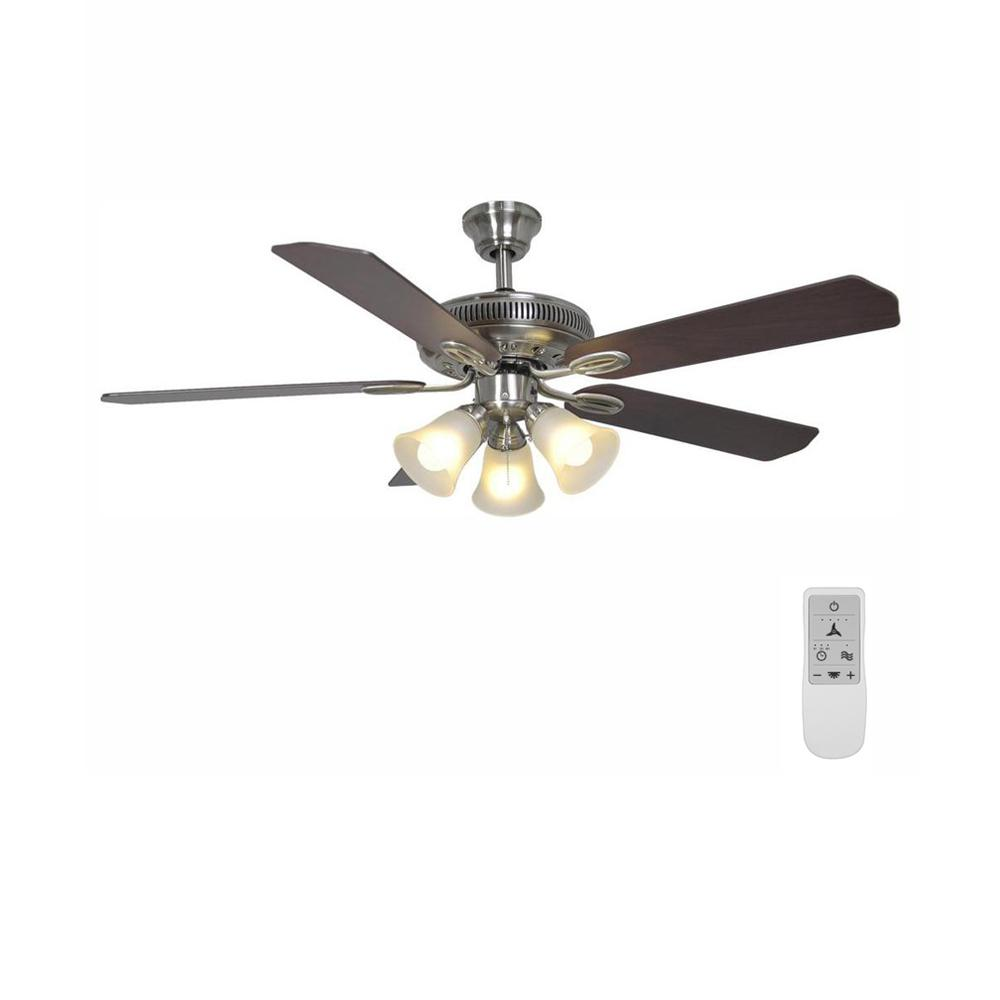 Hampton Bay Glendale 52 in. LED Brushed Nickel Ceiling Fan with Light Kit and WiFi Remote Control works with Google and Alexa
