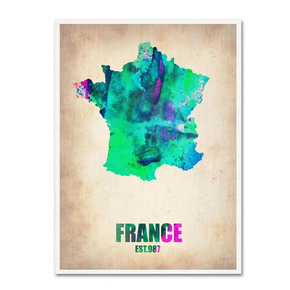 Trademark Fine Art 24 in. x 18 in. France Watercolor Map Canvas Art