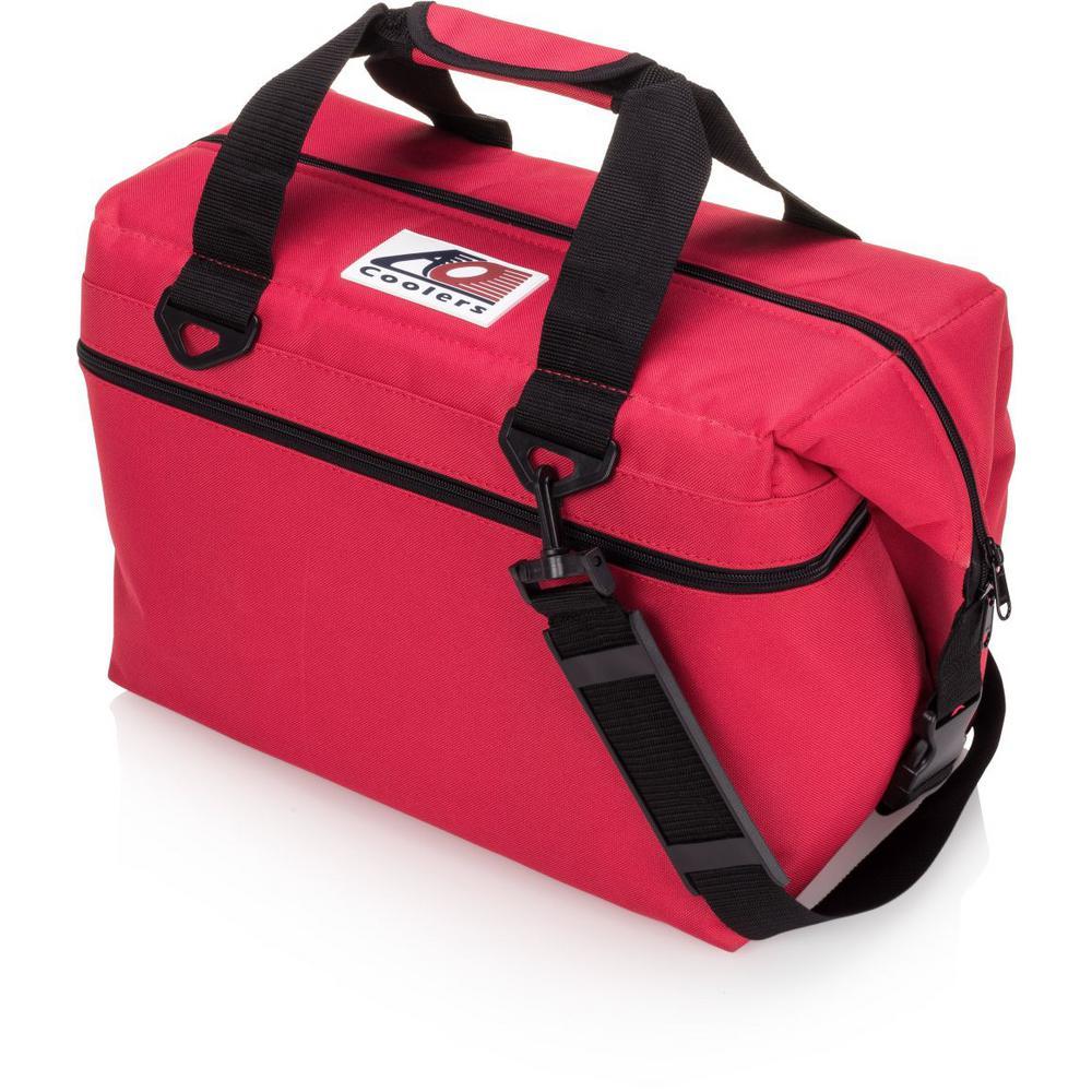 30 Qt. Canvas Cooler with Shoulder Strap and Wide Outside Pocket