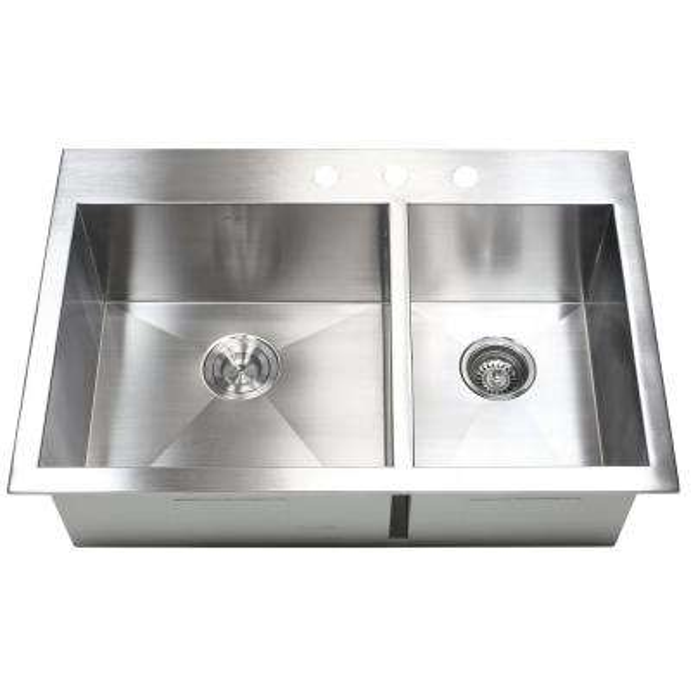 Topmount Drop-in 16-Gauge 33 in. x 22 in. x 10 in. Stainless Steel Double Bowl 60/40 Zero Radius Kitchen Sink