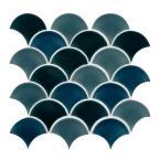 Azul Scallop Glossy 13.11 in. x 9.96 in. x 8mm Glossy Porcelain Mesh-Mounted Mosaic Tile (9.1 sq. ft. / case)