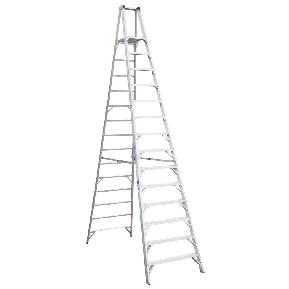 Werner 20 Ft Reach Aluminum Platform Step Ladder With 300 Lb Load Capacity Type Ia Duty Rating P414 The Home Depot